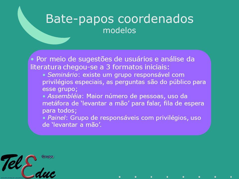 Bate-papos coordenados modelos Por meio de sugestões de usuários e análise da literatura chegou-se a 3 formatos iniciais: Seminário: existe um grupo r