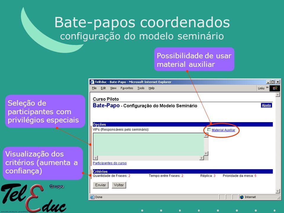 Bate-papos coordenados configuração do modelo seminário Visualização dos critérios (aumenta a confiança) Seleção de participantes com privilégios especiais Possibilidade de usar material auxiliar