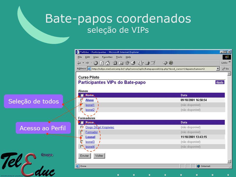 Bate-papos coordenados seleção de VIPs Acesso ao Perfil Seleção de todos