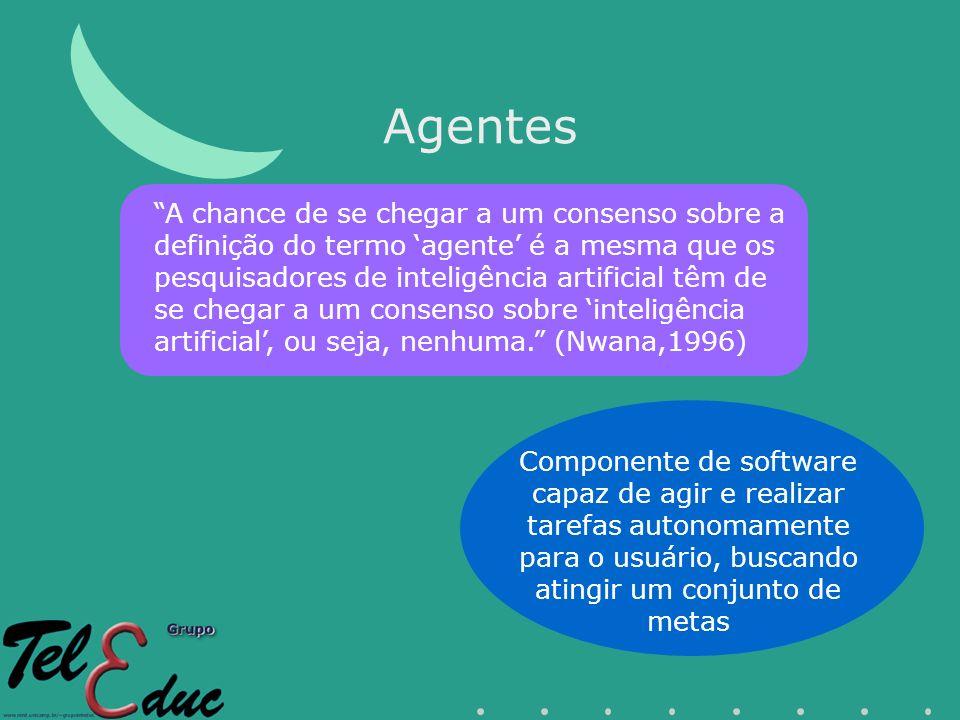 Agentes Componente de software capaz de agir e realizar tarefas autonomamente para o usuário, buscando atingir um conjunto de metas A chance de se che