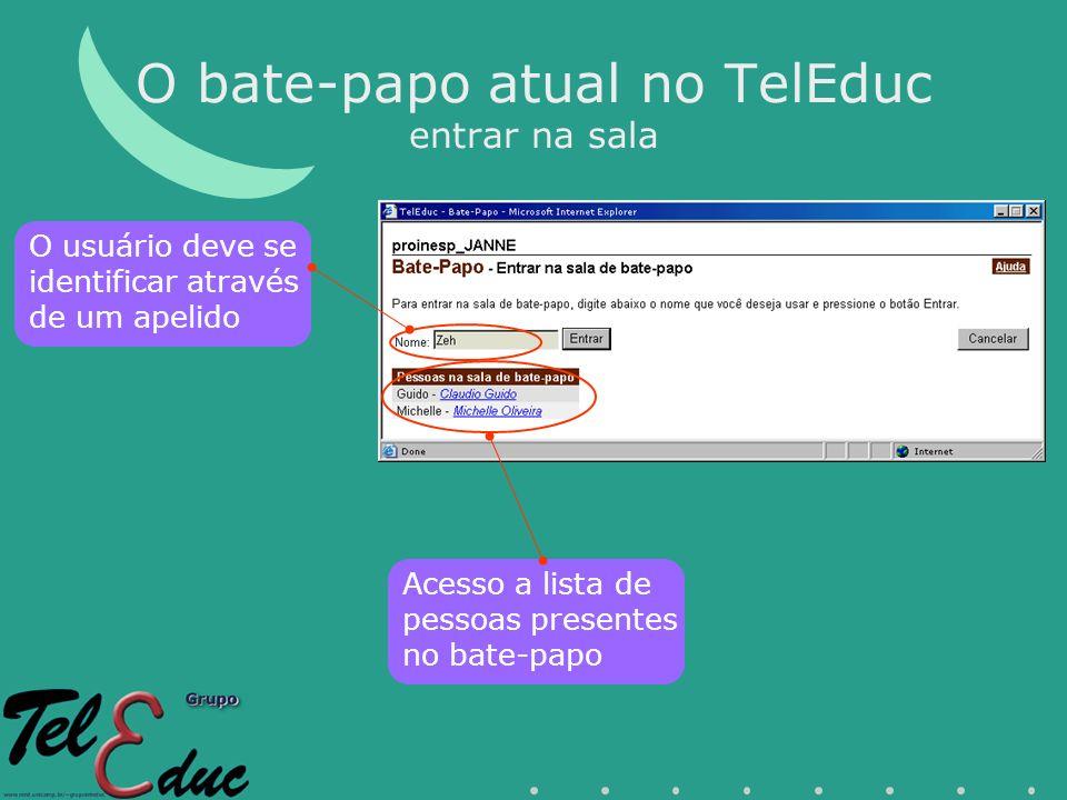O bate-papo atual no TelEduc entrar na sala O usuário deve se identificar através de um apelido Acesso a lista de pessoas presentes no bate-papo