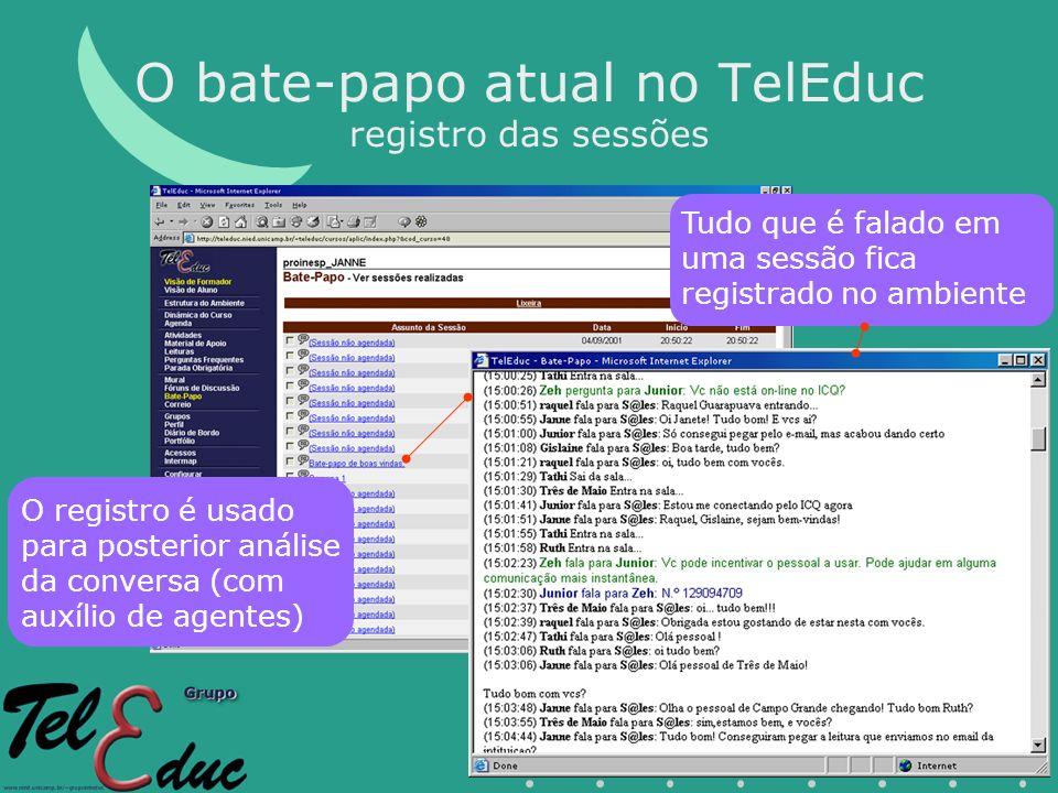 O bate-papo atual no TelEduc registro das sessões O registro é usado para posterior análise da conversa (com auxílio de agentes) Tudo que é falado em