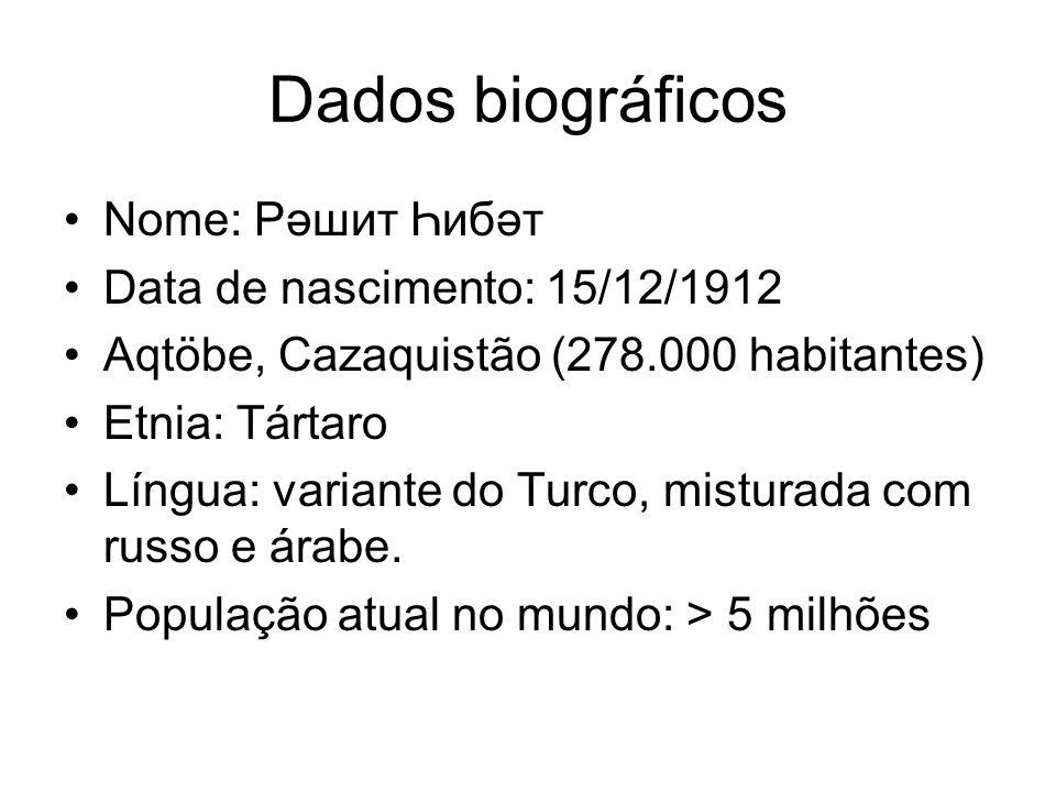 Dados biográficos Nome: Рәшит Һибәт Data de nascimento: 15/12/1912 Aqtöbe, Cazaquistão (278.000 habitantes) Etnia: Tártaro Língua: variante do Turco, misturada com russo e árabe.