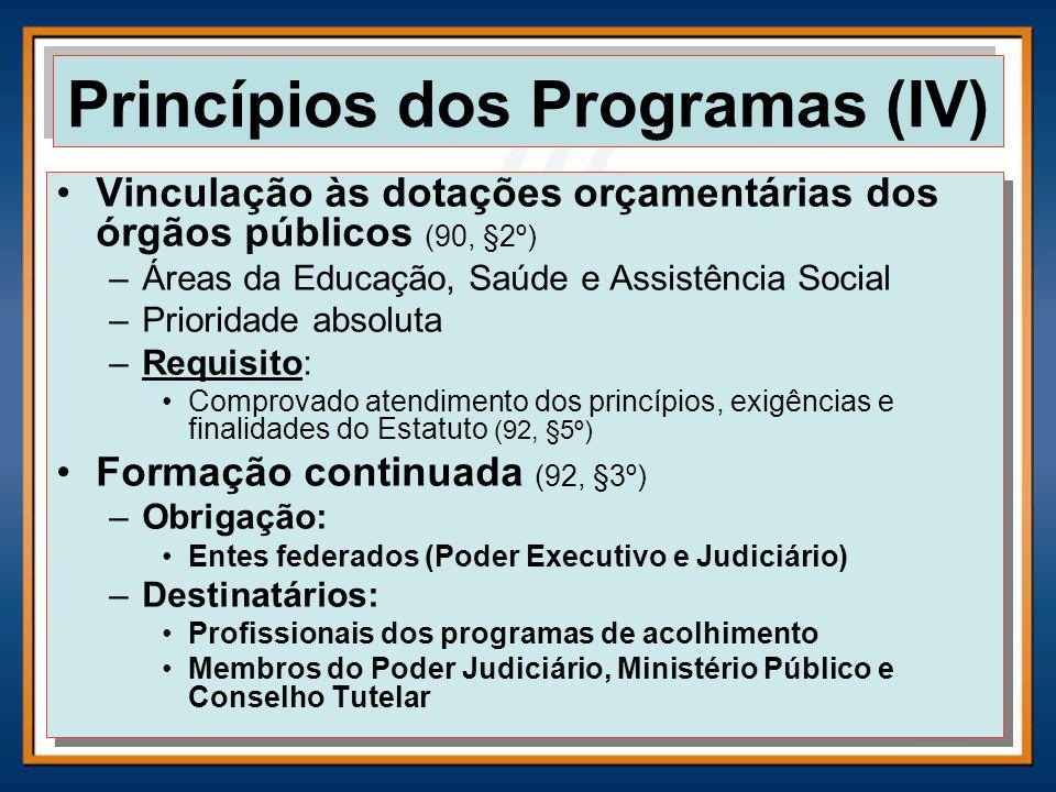 Vinculação às dotações orçamentárias dos órgãos públicos (90, §2º) –Áreas da Educação, Saúde e Assistência Social –Prioridade absoluta –Requisito: Com