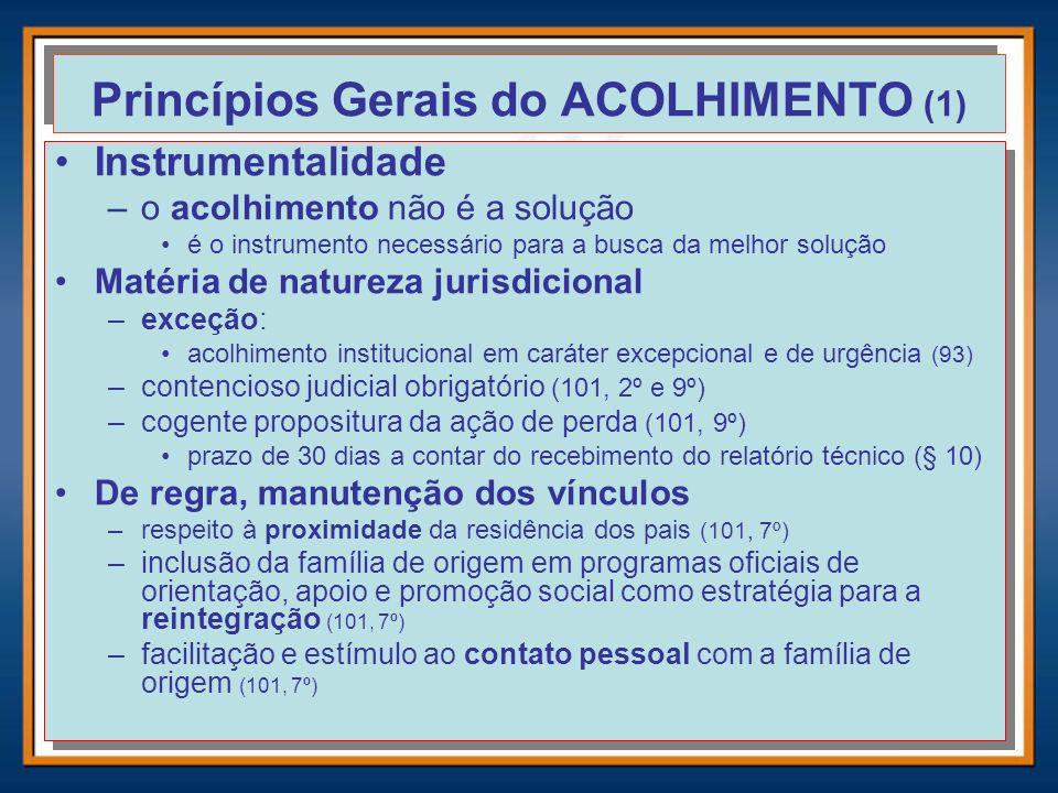 Princípios Gerais do ACOLHIMENTO (1) Instrumentalidade –o acolhimento não é a solução é o instrumento necessário para a busca da melhor solução Matéri