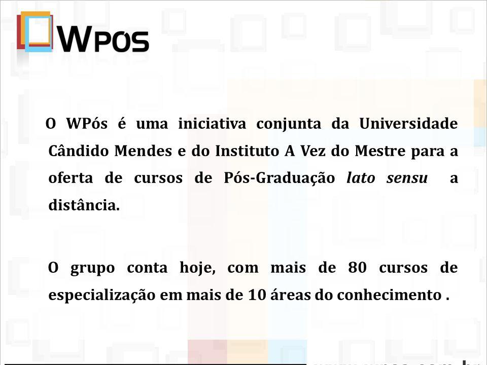O WPós é uma iniciativa conjunta da Universidade Cândido Mendes e do Instituto A Vez do Mestre para a oferta de cursos de Pós-Graduação lato sensu a d
