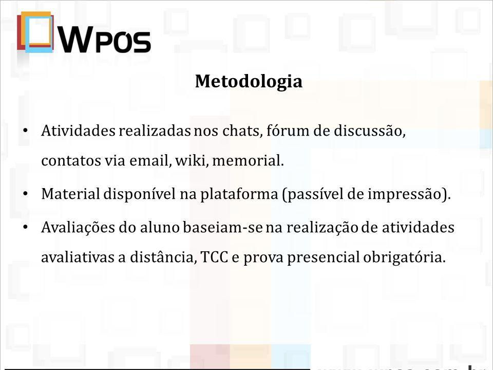 Metodologia Atividades realizadas nos chats, fórum de discussão, contatos via email, wiki, memorial. Material disponível na plataforma (passível de im