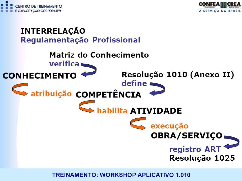 TREINAMENTO: WORKSHOP APLICATIVO 1.010 Resolução 1010 (Anexo II) define CONHECIMENTO COMPETÊNCIA ATIVIDADE OBRA/SERVIÇO atribuição habilita execução M