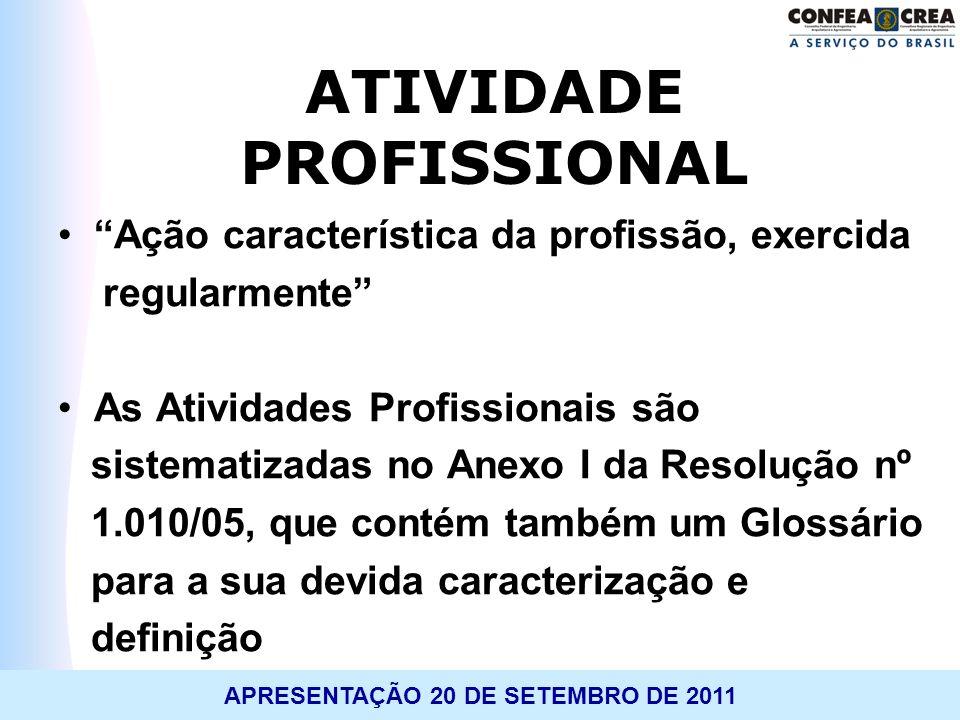 APRESENTAÇÃO 20 DE SETEMBRO DE 2011 ATIVIDADE PROFISSIONAL Ação característica da profissão, exercida regularmente As Atividades Profissionais são sis