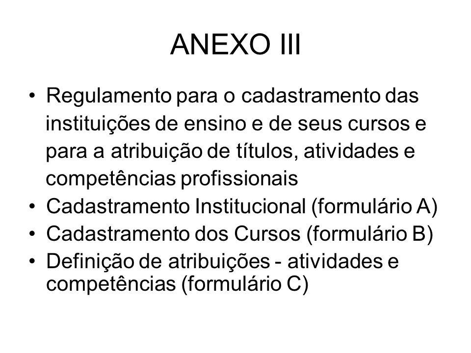 ANEXO III Regulamento para o cadastramento das instituições de ensino e de seus cursos e para a atribuição de títulos, atividades e competências profi