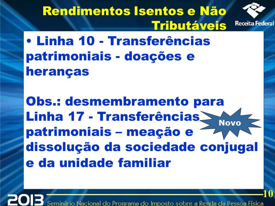2013 Linha 10 - Transferências patrimoniais - doações e heranças Obs.: desmembramento para Linha 17 - Transferências patrimoniais – meação e dissoluçã