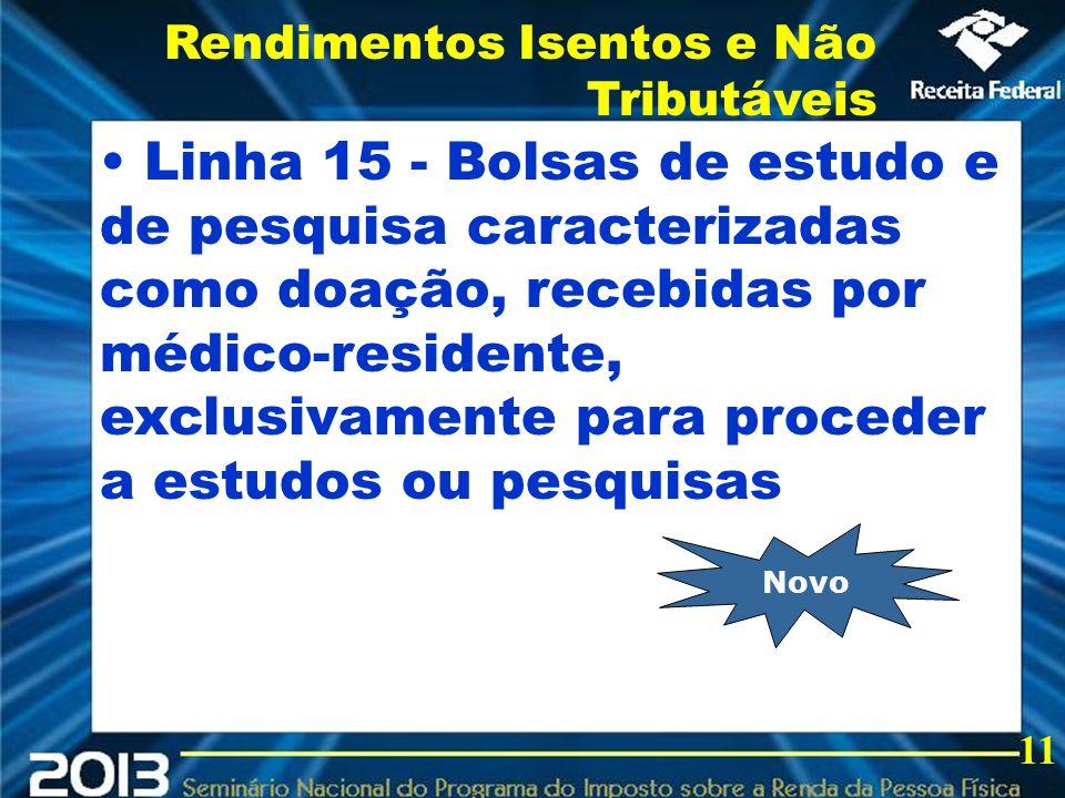 2013 Linha 15 - Bolsas de estudo e de pesquisa caracterizadas como doação, recebidas por médico-residente, exclusivamente para proceder a estudos ou p
