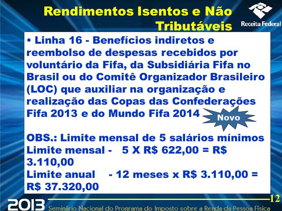 2013 Linha 16 - Benefícios indiretos e reembolso de despesas recebidos por voluntário da Fifa, da Subsidiária Fifa no Brasil ou do Comitê Organizador