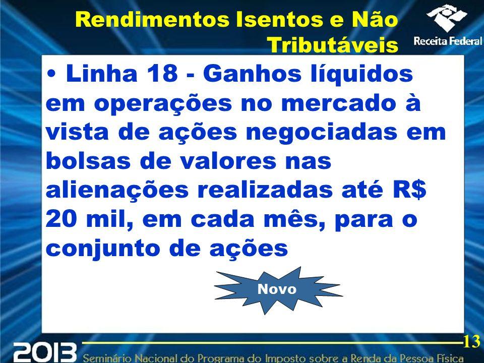 2013 Linha 18 - Ganhos líquidos em operações no mercado à vista de ações negociadas em bolsas de valores nas alienações realizadas até R$ 20 mil, em c