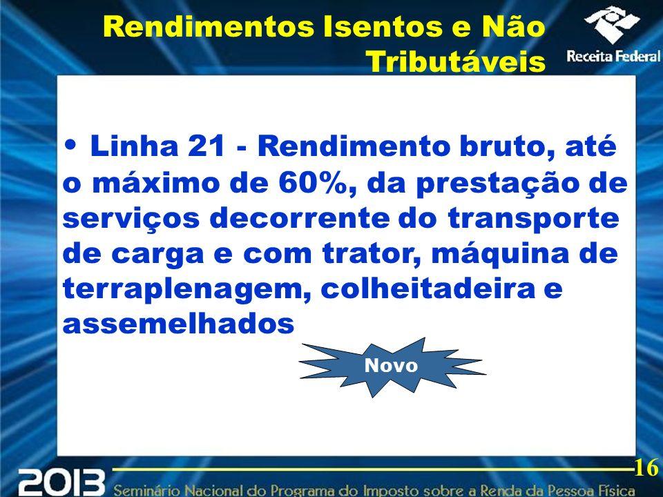 2013 Linha 21 - Rendimento bruto, até o máximo de 60%, da prestação de serviços decorrente do transporte de carga e com trator, máquina de terraplenag