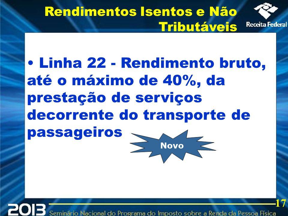 2013 Linha 22 - Rendimento bruto, até o máximo de 40%, da prestação de serviços decorrente do transporte de passageiros Rendimentos Isentos e Não Trib
