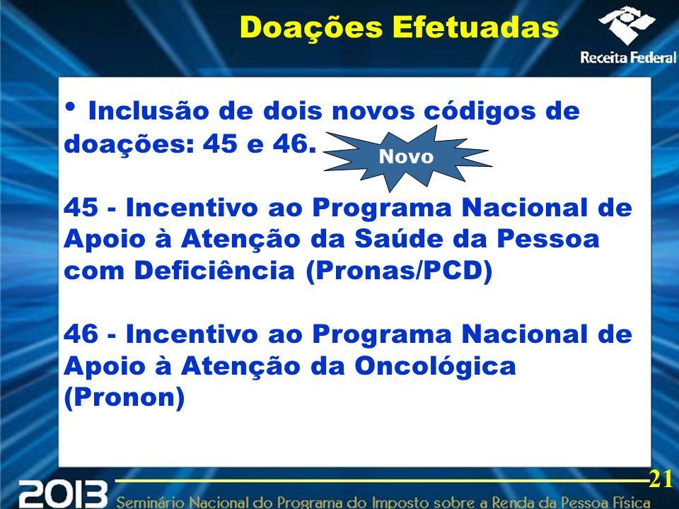 2013 Inclusão de dois novos códigos de doações: 45 e 46. 45 - Incentivo ao Programa Nacional de Apoio à Atenção da Saúde da Pessoa com Deficiência (Pr