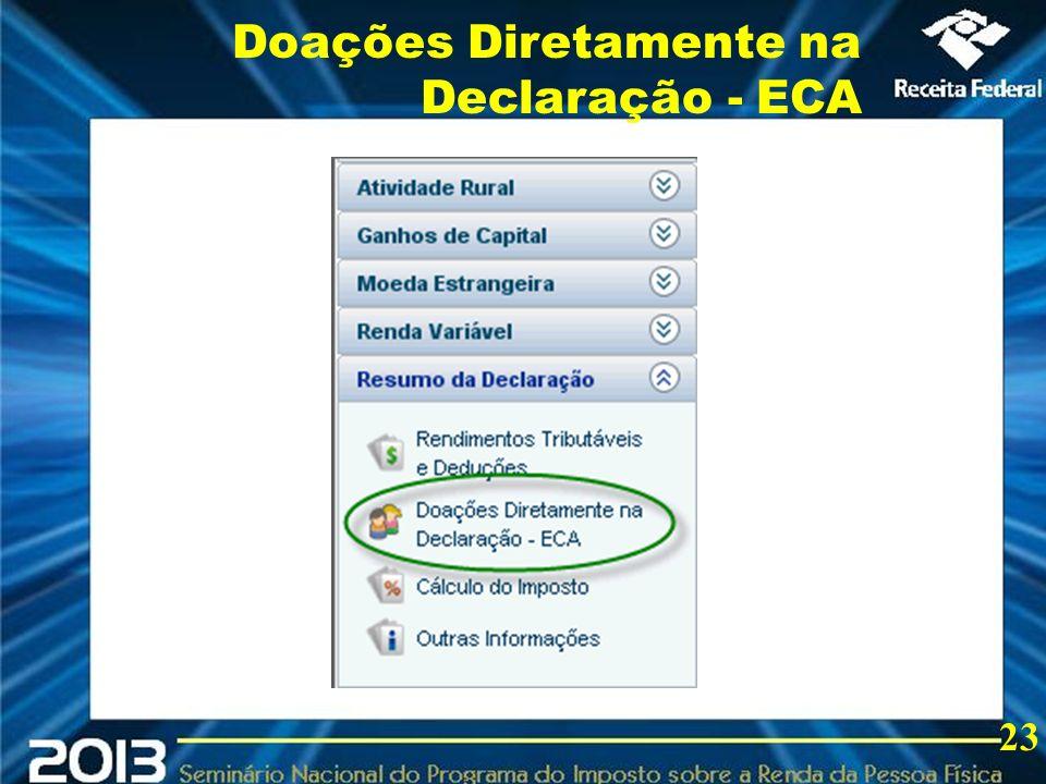 2013 Doações Diretamente na Declaração - ECA 23