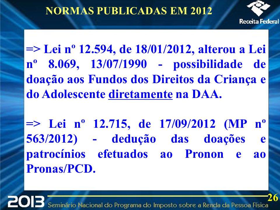 2013 => Lei nº 12.594, de 18/01/2012, alterou a Lei nº 8.069, 13/07/1990 - possibilidade de doação aos Fundos dos Direitos da Criança e do Adolescente