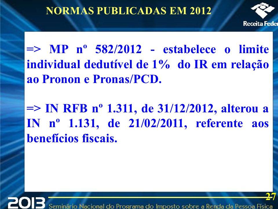 2013 => MP nº 582/2012 - estabelece o limite individual dedutível de 1% do IR em relação ao Pronon e Pronas/PCD. => IN RFB nº 1.311, de 31/12/2012, al