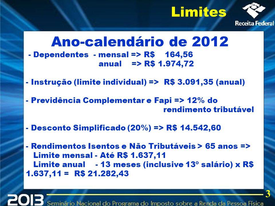 2013 Ano-calendário de 2012 - Dependentes - mensal => R$ 164,56 anual => R$ 1.974,72 - Instrução (limite individual) => R$ 3.091,35 (anual) - Previdên