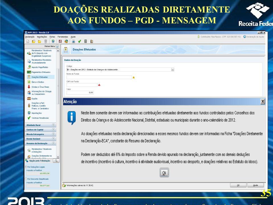 2013 DOAÇÕES REALIZADAS DIRETAMENTE AOS FUNDOS – PGD - MENSAGEM 35