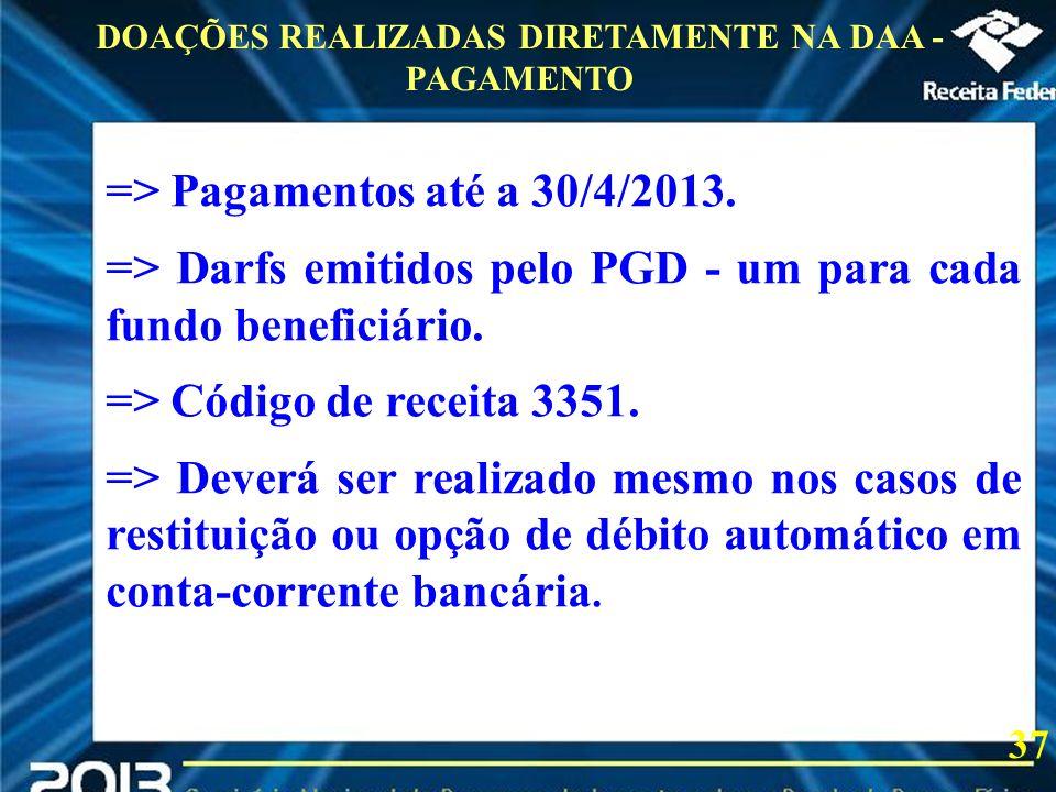 2013 => Pagamentos até a 30/4/2013. => Darfs emitidos pelo PGD - um para cada fundo beneficiário. => Código de receita 3351. => Deverá ser realizado m