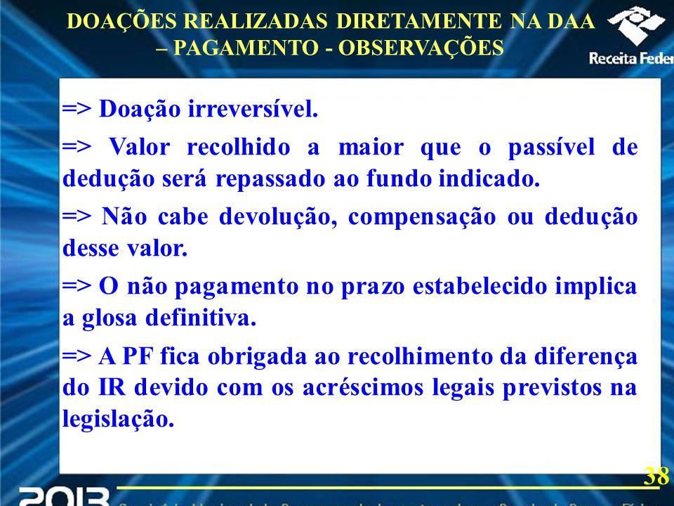 2013 => Doação irreversível. => Valor recolhido a maior que o passível de dedução será repassado ao fundo indicado. => Não cabe devolução, compensação