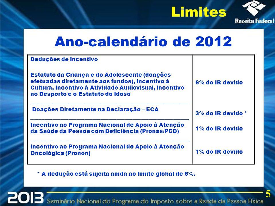 2013 Ano-calendário de 2012 Limites 5 Deduções de Incentivo Estatuto da Criança e do Adolescente (doações efetuadas diretamente aos fundos), Incentivo