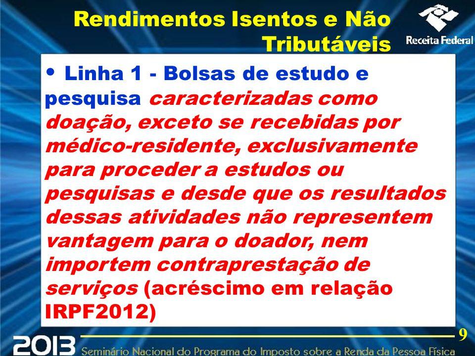 2013 Linha 1 - Bolsas de estudo e pesquisa caracterizadas como doação, exceto se recebidas por médico-residente, exclusivamente para proceder a estudo