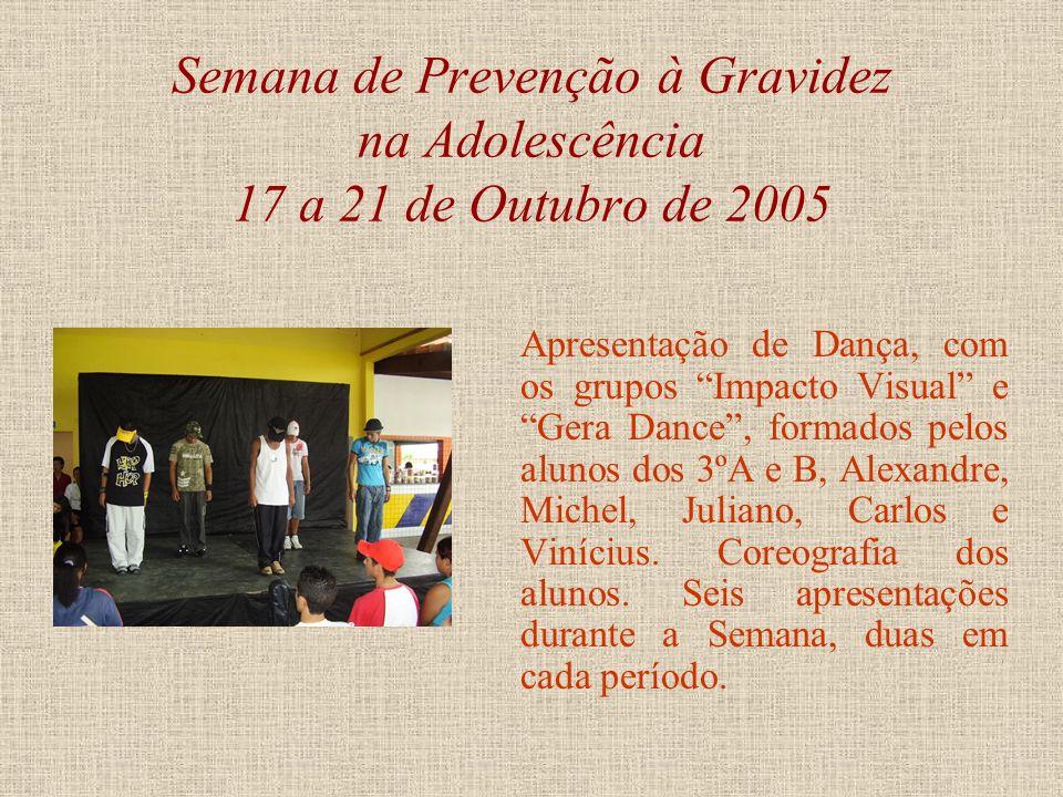 Semana de Prevenção à Gravidez na Adolescência 17 a 21 de Outubro de 2005 Apresentação de Teatro, peça Gravidez na Adolescência, ninguém merece!. No d