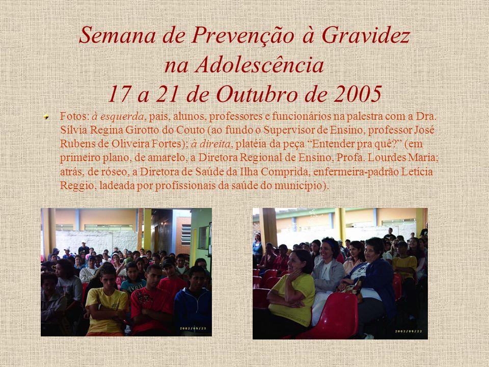 Semana de Prevenção à Gravidez na Adolescência 17 a 21 de Outubro de 2005 Palestra com a Dra. Sílvia Regina Girotto do Couto, médica pediatra, sobre p