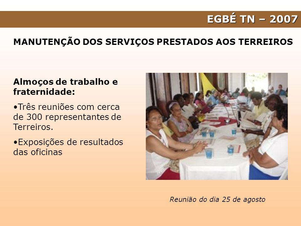 EGBÉ TN – 2007 MANUTENÇÃO DOS SERVIÇOS PRESTADOS AOS TERREIROS Almoços de trabalho e fraternidade: Três reuniões com cerca de 300 representantes de Te
