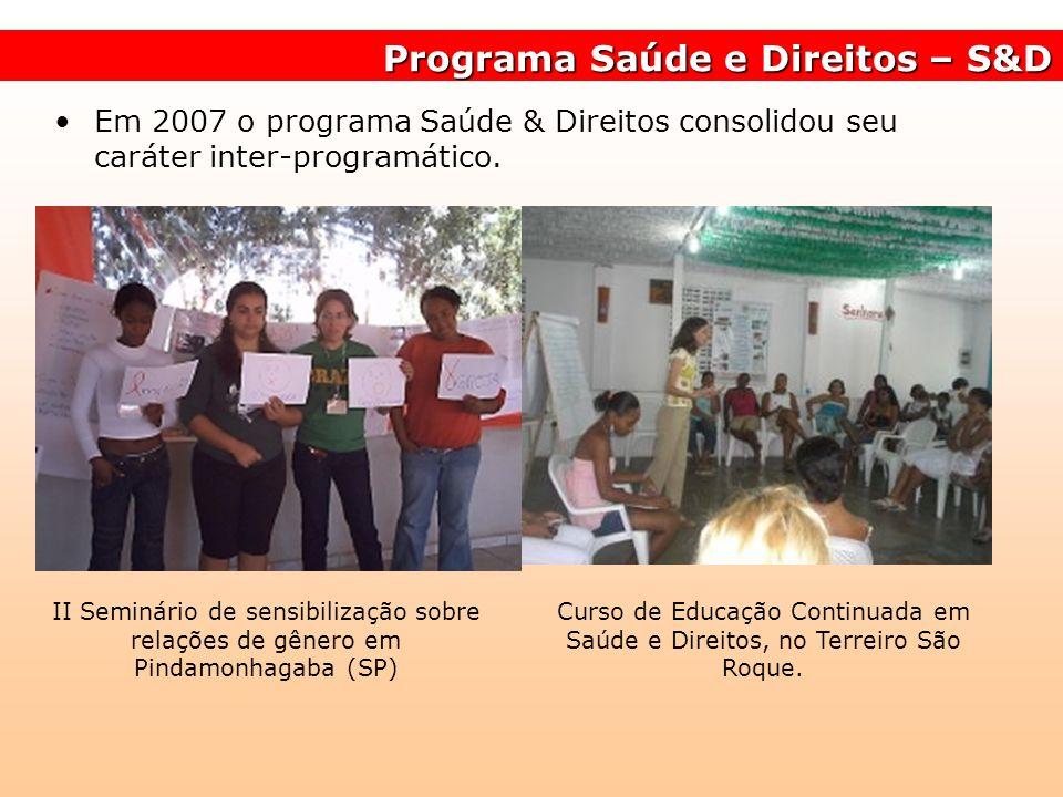 Programa Saúde e Direitos – S&D Em 2007 o programa Saúde & Direitos consolidou seu caráter inter-programático. II Seminário de sensibilização sobre re