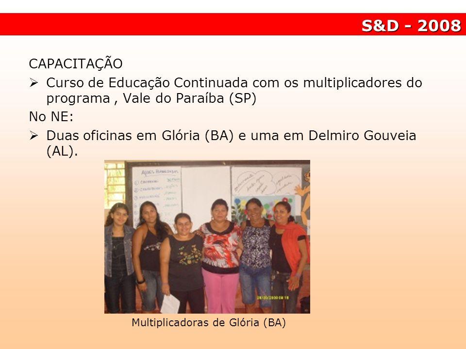 S&D - 2008 Multiplicadoras de Glória (BA) CAPACITAÇÃO Curso de Educação Continuada com os multiplicadores do programa, Vale do Paraíba (SP) No NE: Dua
