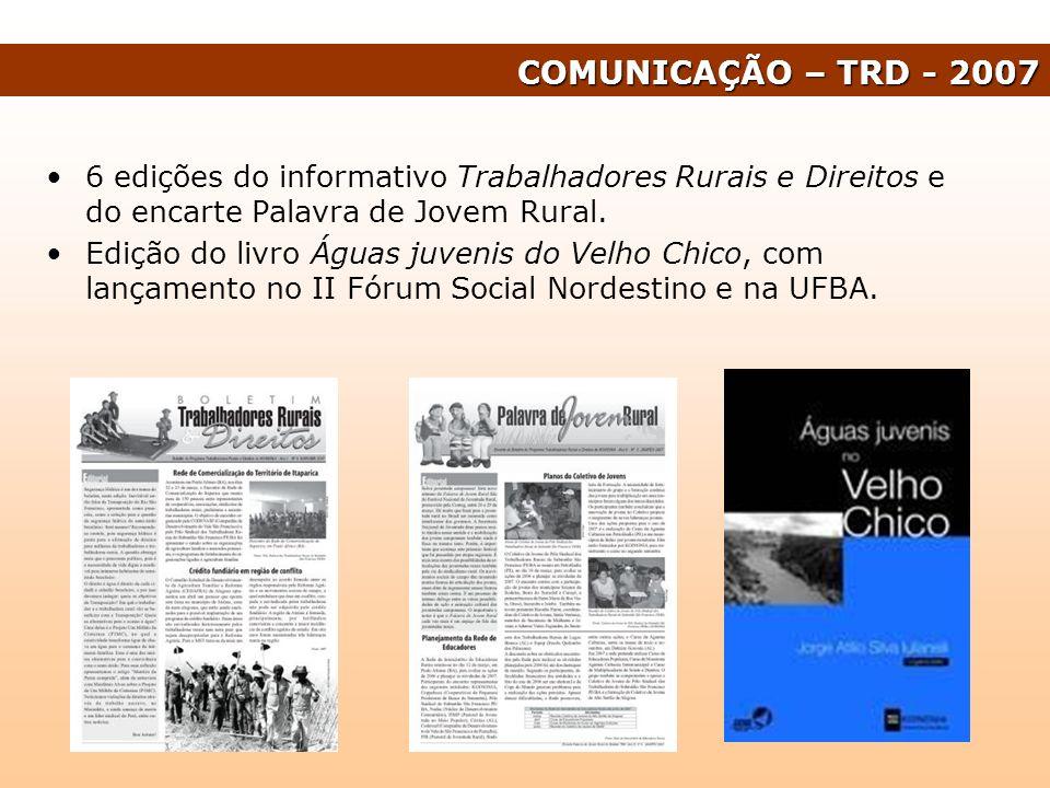 6 edições do informativo Trabalhadores Rurais e Direitos e do encarte Palavra de Jovem Rural. Edição do livro Águas juvenis do Velho Chico, com lançam