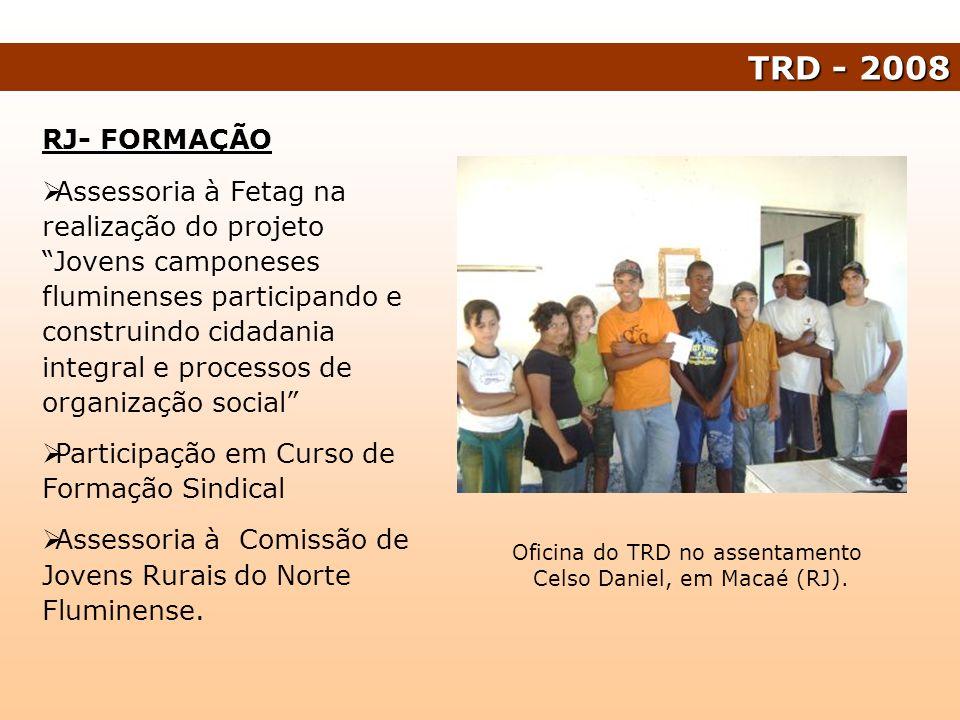 RJ- FORMAÇÃO Assessoria à Fetag na realização do projeto Jovens camponeses fluminenses participando e construindo cidadania integral e processos de or