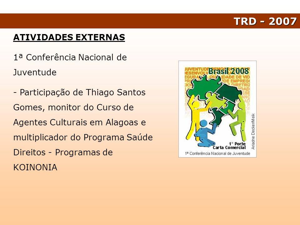 ATIVIDADES EXTERNAS 1ª Conferência Nacional de Juventude - Participação de Thiago Santos Gomes, monitor do Curso de Agentes Culturais em Alagoas e mul