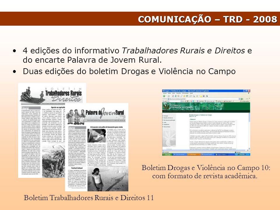 4 edições do informativo Trabalhadores Rurais e Direitos e do encarte Palavra de Jovem Rural. Duas edições do boletim Drogas e Violência no Campo COMU
