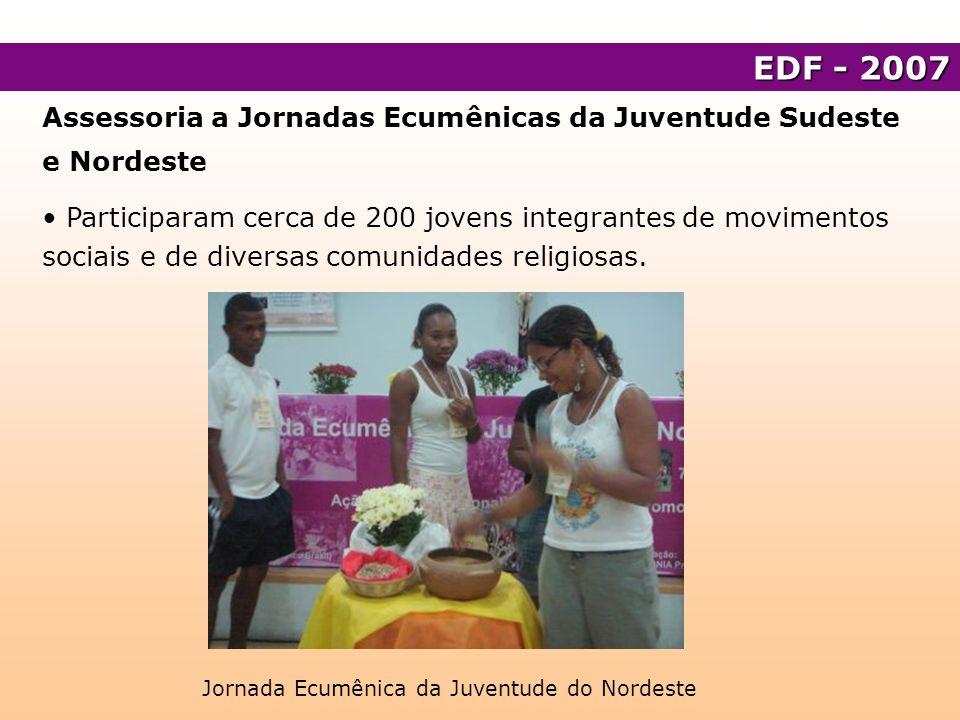 Assessoria a Jornadas Ecumênicas da Juventude Sudeste e Nordeste Processo de formação da Rede Ecumênica de Jovens Nacional.