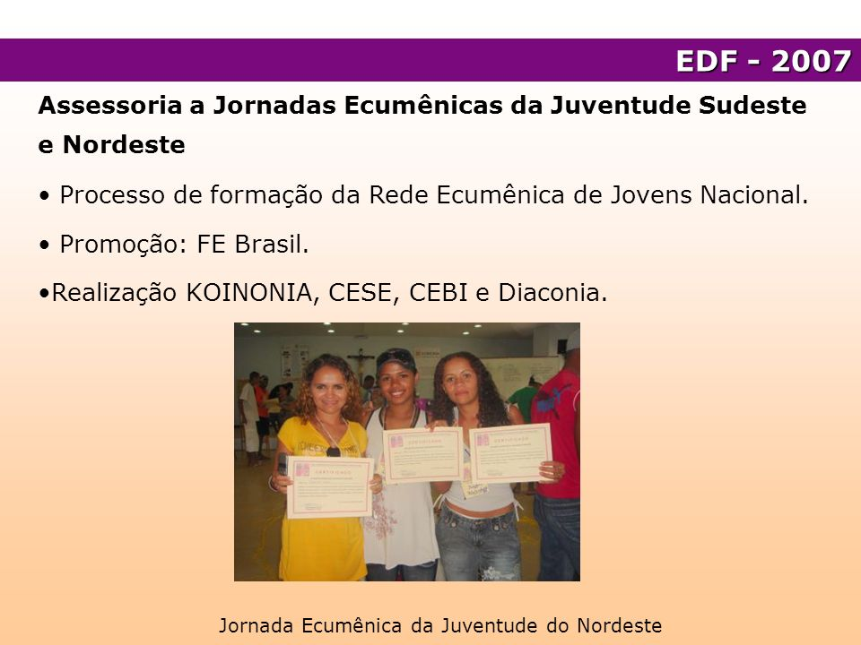 Assessoria a Jornadas Ecumênicas da Juventude Sudeste e Nordeste Processo de formação da Rede Ecumênica de Jovens Nacional. Promoção: FE Brasil. Reali