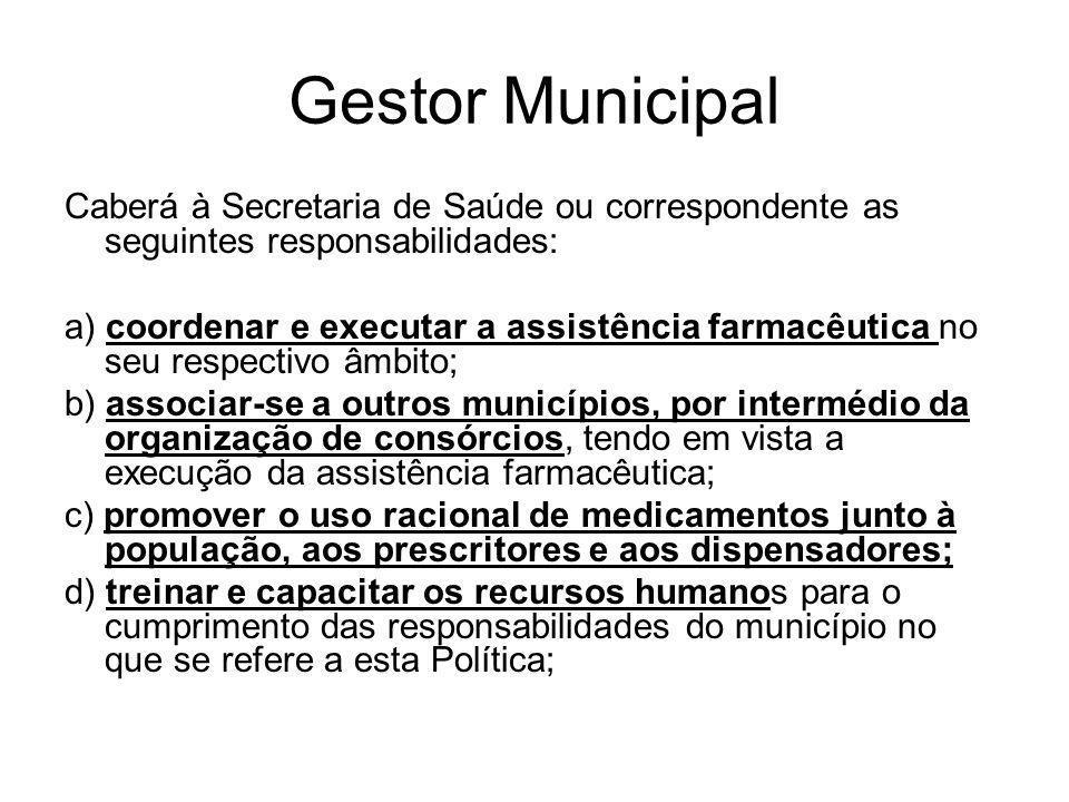 Gestor Municipal Caberá à Secretaria de Saúde ou correspondente as seguintes responsabilidades: a) coordenar e executar a assistência farmacêutica no