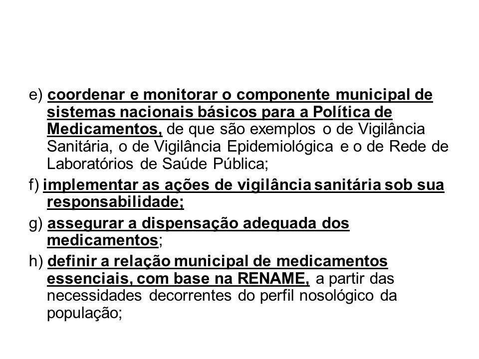 e) coordenar e monitorar o componente municipal de sistemas nacionais básicos para a Política de Medicamentos, de que são exemplos o de Vigilância San