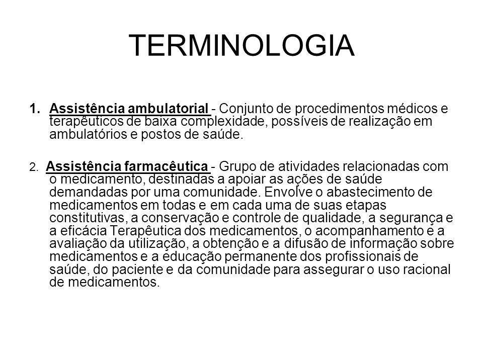TERMINOLOGIA 1.Assistência ambulatorial - Conjunto de procedimentos médicos e terapêuticos de baixa complexidade, possíveis de realização em ambulatór
