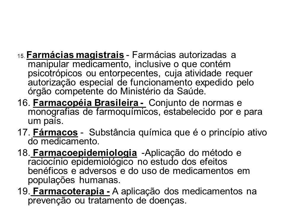 15. Farmácias magistrais - Farmácias autorizadas a manipular medicamento, inclusive o que contém psicotrópicos ou entorpecentes, cuja atividade requer