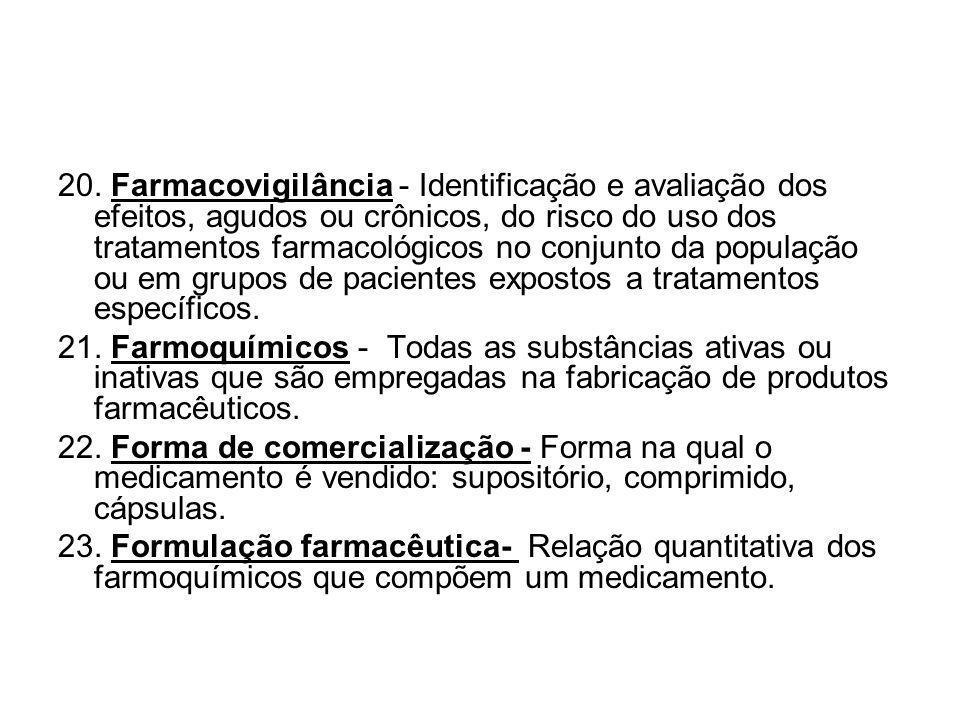 20. Farmacovigilância - Identificação e avaliação dos efeitos, agudos ou crônicos, do risco do uso dos tratamentos farmacológicos no conjunto da popul