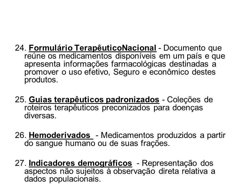 24. Formulário TerapêuticoNacional - Documento que reúne os medicamentos disponíveis em um país e que apresenta informações farmacológicas destinadas