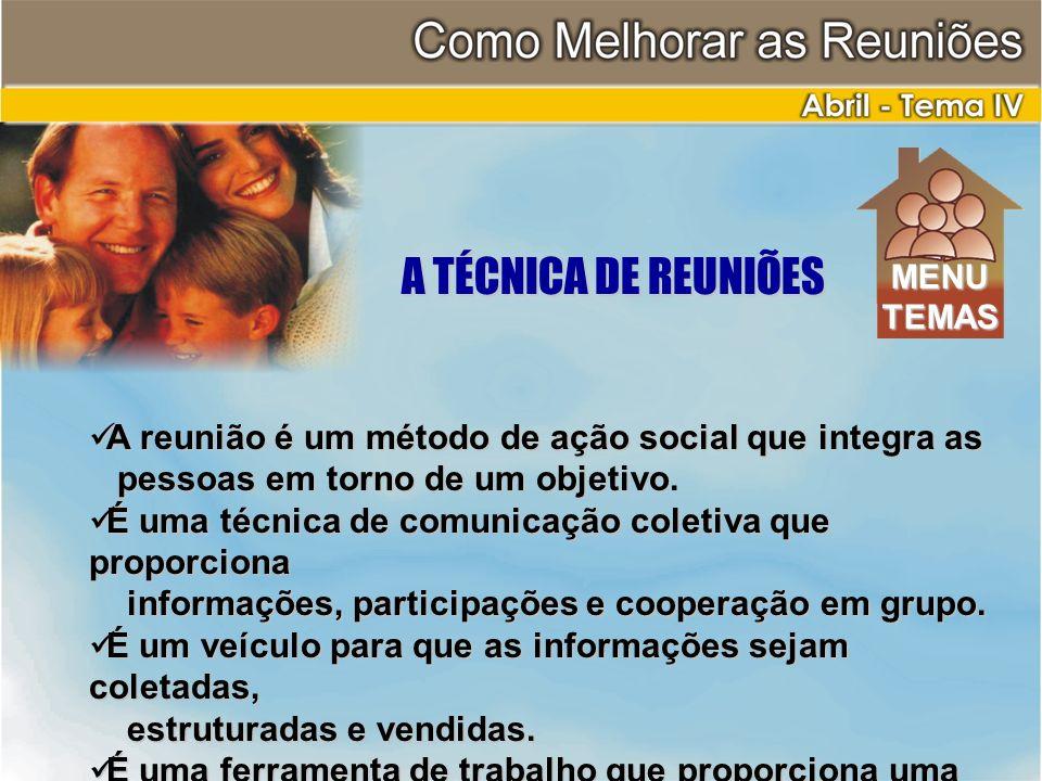 A TÉCNICA DE REUNIÕES A reunião é um método de ação social que integra as A reunião é um método de ação social que integra as pessoas em torno de um o