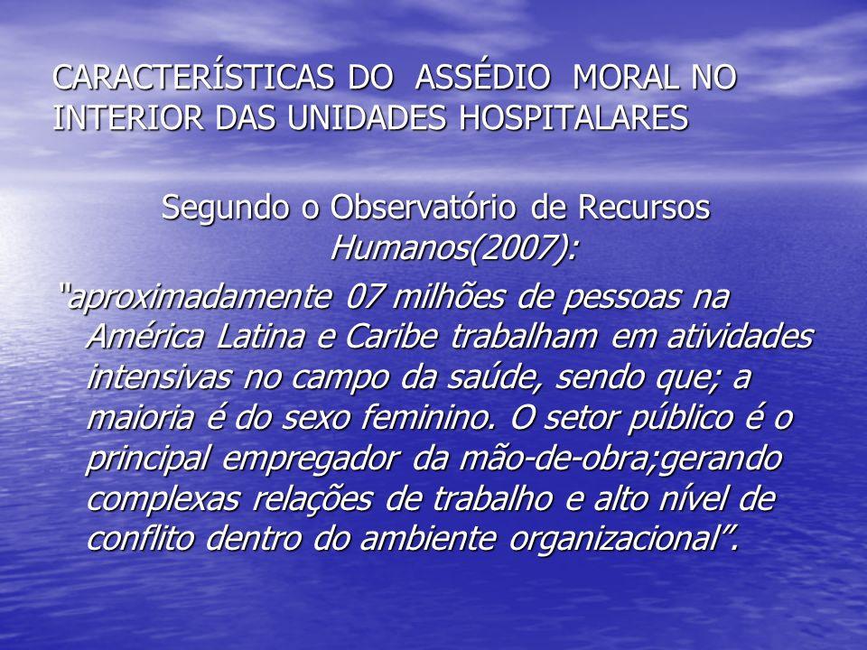 CARACTERÍSTICAS DO ASSÉDIO MORAL NO INTERIOR DAS UNIDADES HOSPITALARES Segundo o Observatório de Recursos Humanos(2007): aproximadamente 07 milhões de