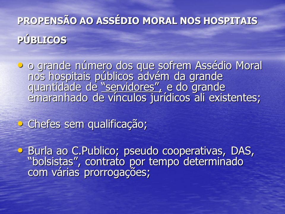 PROPENSÃO AO ASSÉDIO MORAL NOS HOSPITAIS PÚBLICOS o grande número dos que sofrem Assédio Moral nos hospitais públicos advém da grande quantidade de se